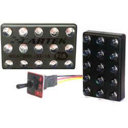 Svjetlo LED s FIA 90x56mm 15 LED s gumbom (3 načina)