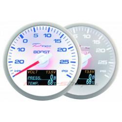Mjerni instrument DEPO 4v1 60mm White – Turbo Pritisak + pritisak ulja + temperatura ulja + voltmetar