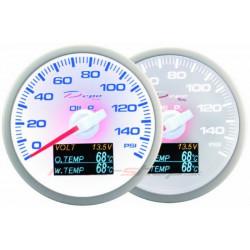 Mjerni instrument DEPO 4v1 60mm White – Pritisak ulja + temperatura ulja + temperatura vode + voltmetar